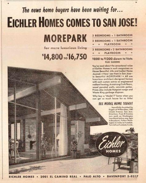 Eichler Homes for Sale in Morepark circa 1953 Advertisement